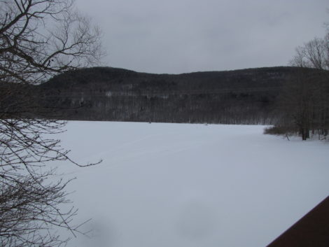 Woods Pond in winter in Lenox Dale. The Woods Pond dam created this pond where high concentrations of PCB-contaminated sediment has collected. Photo: David Scribner