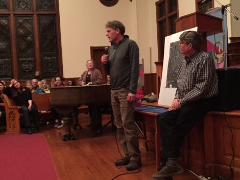 Environmental advocate Denny Alsop of Stockbridge and HRI founder Tim Gray address 'Stop the Dumps' meeting. Photo: Heather Bellow