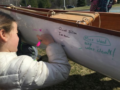 Each of the 17 students signed the canoe. Photo: David Scribner