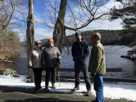 At Spectacle Pond, from left, Jean Atwater- Williams of STOP, Board of Selectmen Chair Alice Boyd, Arborist Tom Ingersoll, and Smitty Pignatelli.