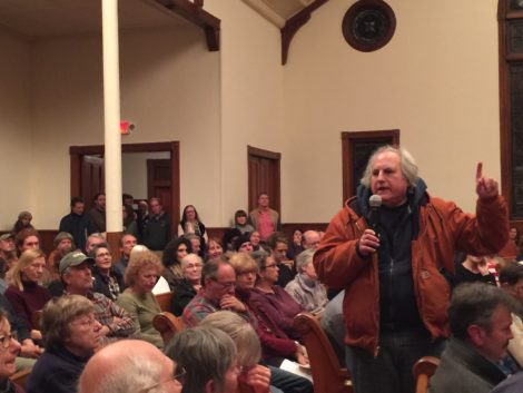 Filmmaker and writer Mickey Friedman addressing the Stop the Dumps forum. Photo: Heather Bellow