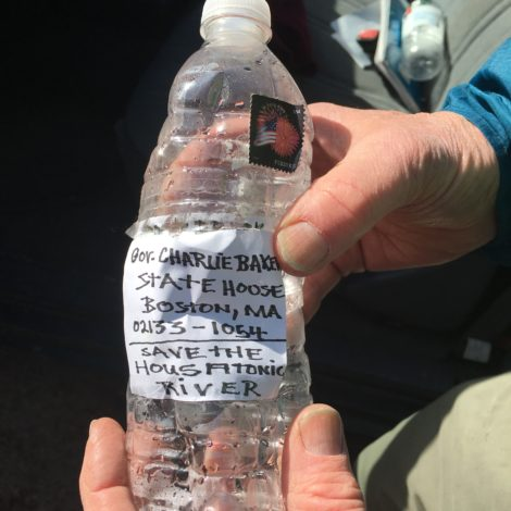 The water bottles in which Muddy Brook students will place messages to Gov. Charlie Baker. Photo: David Scribner