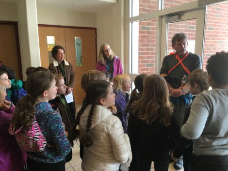 Alsop explains the Canoe for Clean Water expedition to Shannon Guerrero's third grade class at Muddy Brook Elementary School.