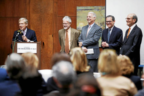 The announcement of the sale of the Eagle came at the Berkshire Museum April 21. From left: Robert G. Wilmers, former publisher Martin Langeveld, current publisher Ed Woods, John C. 'Hans' Morris, and Judge Fredric C. Rutberg. Photo: Courtesy of The Berkshire Eagle.