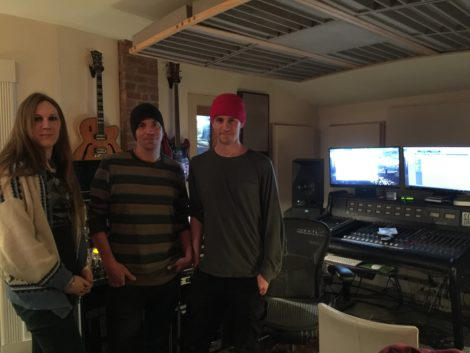 Autumn Doyle of Dalton-based Forever Autumn, SubStation owner Robby Baier, and Jackson Whalan, in the basement music studio. Photo: Heather Bellow