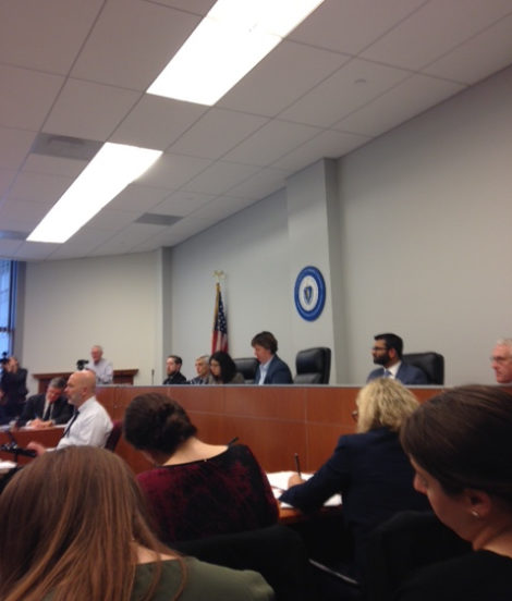 The hearing on the tariff for the Northeast Direct pipeline before the Massachusetts DPU in February. Photo: Mary Douglas