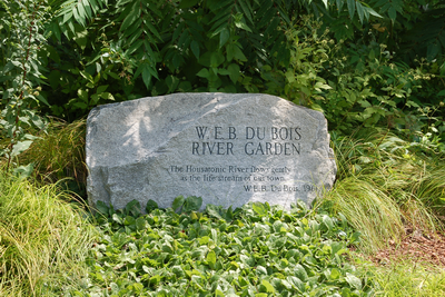 The W.E.B Du Bois Memorial Stone at the River Walk in Great Barrington, Mass., adjacent to the Housatonic River and at the beginning of the River Walk created in his honor.