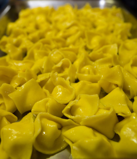 Raviolis made with free-range eggs retain the rich yellow color of the yolks.