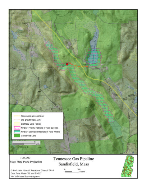 A map of the proposed pipeline extension through protected land, prepared by the Berkshire Natural Resources Council.