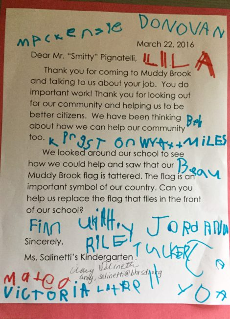 Kindergarten class letter to Rep. Pignatelli.