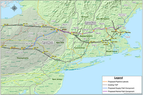 Kinder Morgan's Northeast Direct (NED) natural gas pipeline extending from New York, through the Berkshires, and to the ports of eastern New England and Canada.