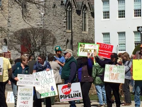 Protestors outside Berkshire Superior Court in Pittsfield, Mass., during the hearing over Kinder Morgan's plan to cut a path through protected Otis State Forest. Photo: Heather Bellow