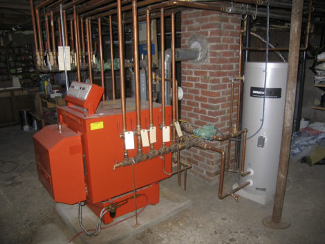The new boiler and indirect hot water tank. Photo: Thomas RC Hartman