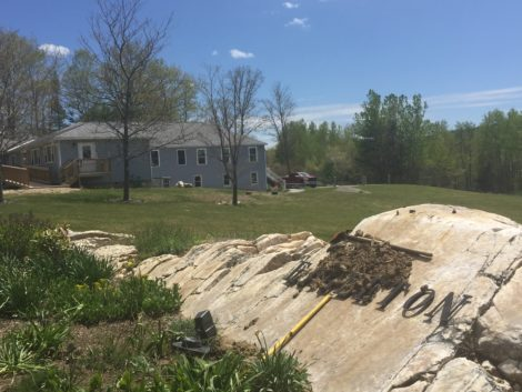 The rock that held the Eagleton school iconic Eagle sculpture is now barren. The Eagle is gone. Photo: Heather Bellow