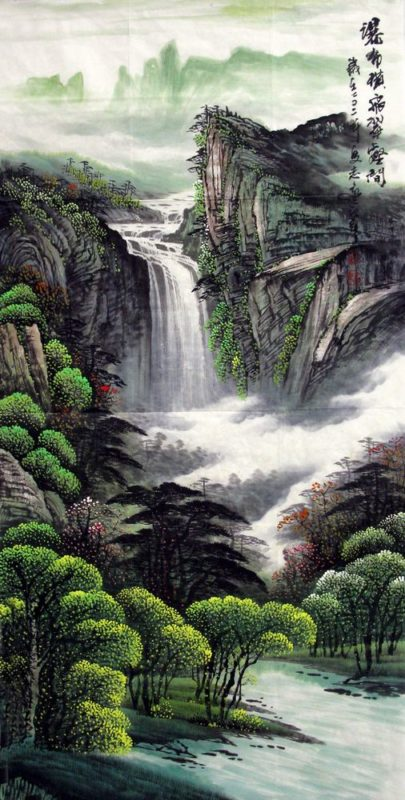 When working with a landscape that involves hilly terrain, the style of Chinese landscape painting with its multiple perspectives is almost easier to comprehend than the birds-eye rendering of a garden that is the traditional format for landscape designs. Such paintings also show the inherent drama of a garden that includes changes in elevation.