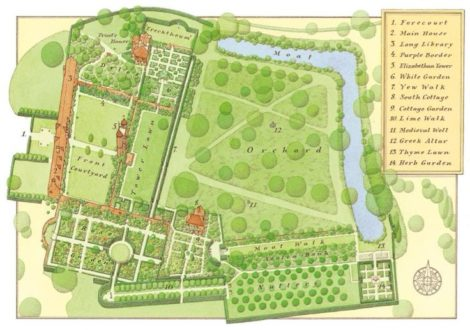 It is not hard to get a sense of the garden at Sissinghurst from an overhead plan as the landscape is relatively flat and can be read from above without one having to struggle with its topography.