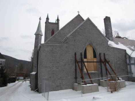 The back wall of St. James Church partially collapsed in 2010, resulting in the building being unsafe to be occupied.