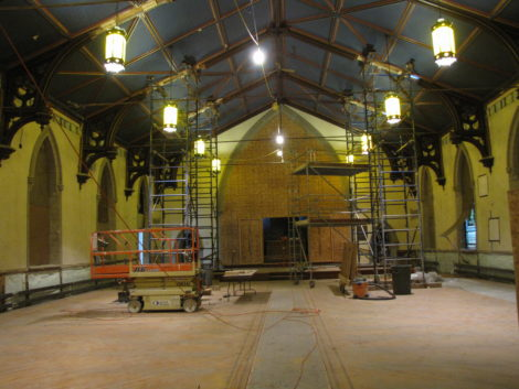 The St. James Place sanctuary under construction where the acoustics are expected to be first rate.