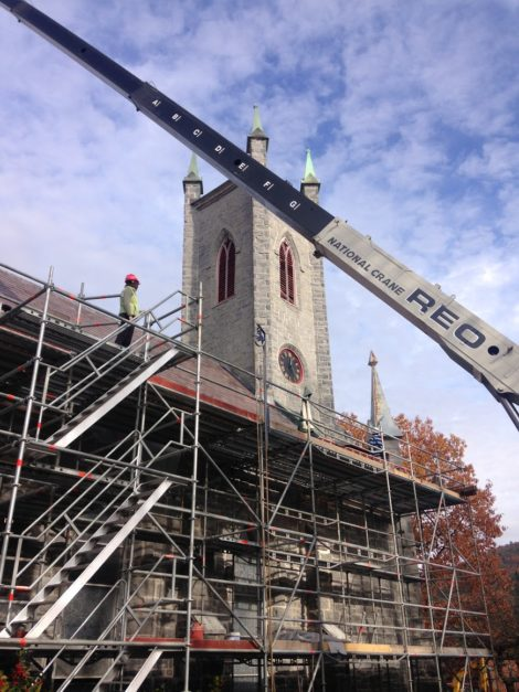 The roof, walls and bell tower of the 159-year-old church have been reinforced and stabilized.