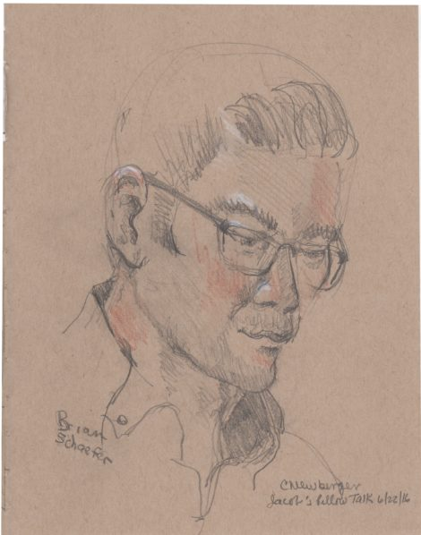 Jacob's Pillow Scholar in Residence, Brian Schaefer. Illustration: Carolyn Newberger