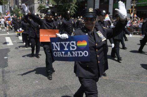 Cops march