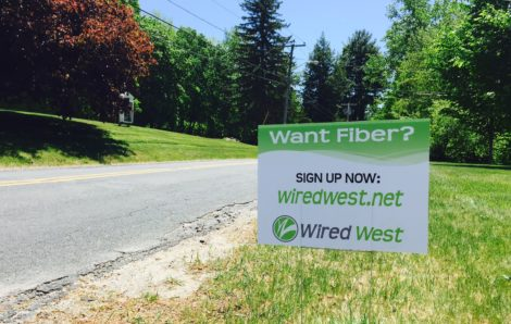 A WiredWest placard in New Marlborough, Mass., prior to a town meeting in which voters approved membership in the WiredWest Cooperative.