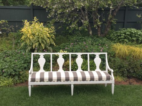 This Swedish inspired bench from Bunny Williams is positioned to give a wonderful view of the Procter garden at BBG. Photo: Lee Buttala