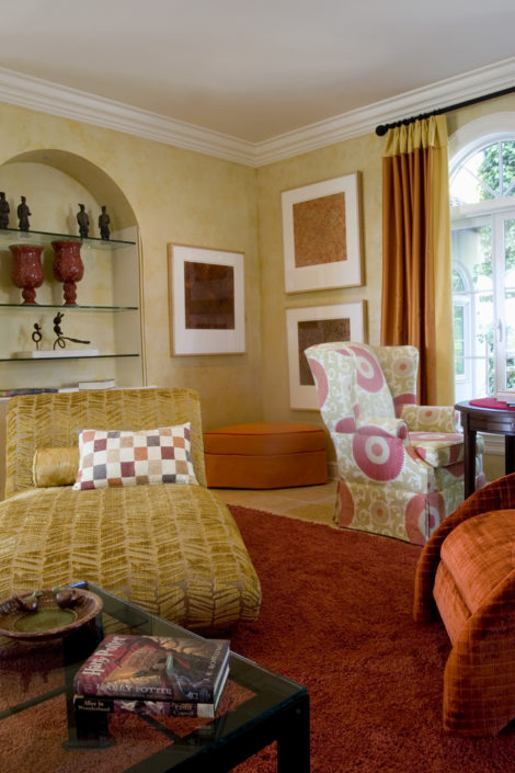 This artwork frames the large windows and adds some personality to the room. Photo:
