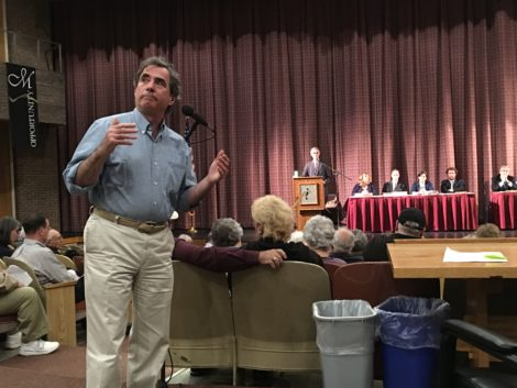 Chip Elitzer, arguing in favor of passing this budget despite his objection to the district assessment formula. Photo: David Scribner