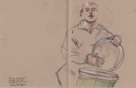 David Mayoral on drums. Illustration; Carolyn Newberger