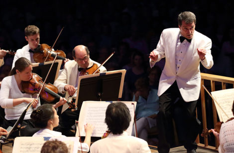 jacques Lacombe conducting the Boston Symphony Orchestra in Prokofiev's Symphony No. 5, during the opening of the BSO's summer Tanglewood residency. Photo: Hilary Scott