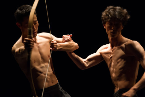 """Cheol-in Jeong and Jae-woo Jung of Bereishit Dance Company in """"BOW."""" Photo: Christopher Duggan"""