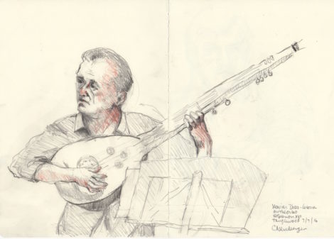 Xavier Diaz Latorre, on theorbo. Illustration by Carolyn Newberger