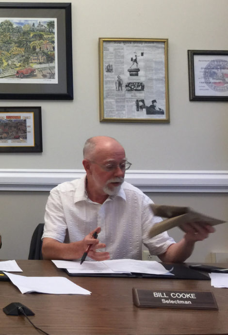 Great Barrington Selectboard member Bill Cooke brought a Big Y bag to the board's meeting. Photo: Heather Bellow