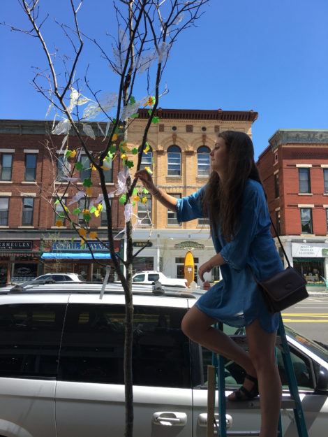 Lily Abrahams affixes Robin Helfand's 'leaves' to sapling on the sidewalk in front of Robin's Candy.
