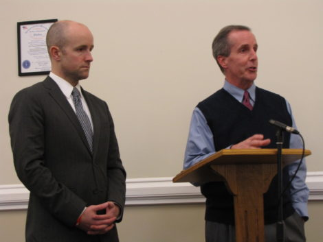 State Sen. Benjamin Downing, left, and Rep. William 'Smitty' Pignatelli supported Mt. Washington's bid for MBI funding.
