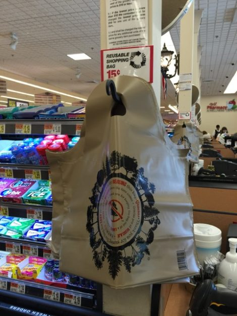 Big Y has begun offering these thicker plastic bags in the hopes that people will reuse them, amid concerns in town that the bags are a sidestep to the town's plastic bag ban. Photo: Heather Bellow.