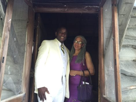 Rufus Jones and Melanie Edwards in the writing cabin entrance. Edwards is related to Johnson. Photo: Heather Bellow