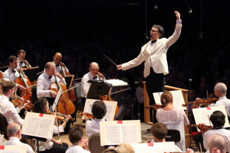 Ken-David Masur leads the BSO at Tanglewood on July 16. Photo: Hilary Scott