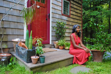 Pooja Prema, at the entrance to her home in Housatonic. Photo: Isa Goldberg