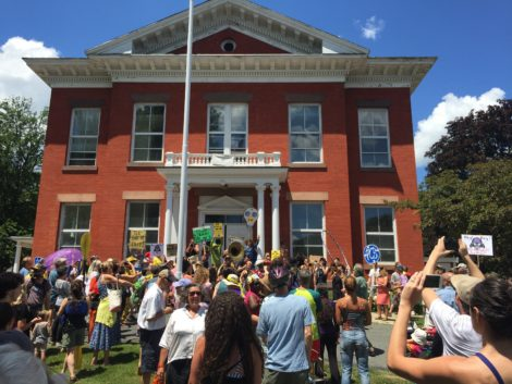 The crowd of marchers in front of Great Barrington Town Hall. Photo: David Scribner
