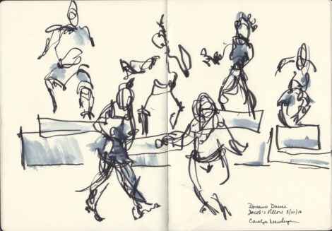 Dorrance Dance ensemble on platforms. Illustration; Carolyn Newberger