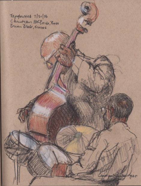 Bassist Christian McBride and drummer Brian Blade. Illustration: Carolyn Newberger