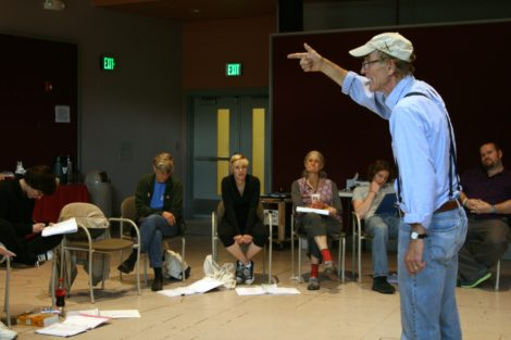 Coleman leading a workshop at Shakepeare & Company.