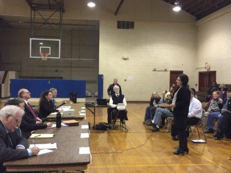 Town Manager Jennifer Tabakin testifies at the DPU hearing in January. Photo: Heather Bellow
