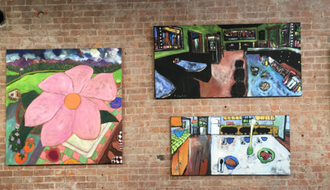 Three of Douglass Truth's paintings at the Lauren Clark Gallery.