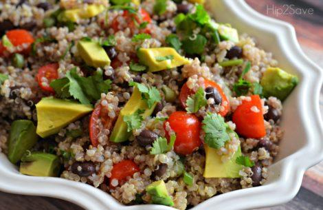 Quinoa salad with cilantro, lime, tomatoes.
