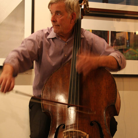 Larry Wolfe on bass, during the Frame performance. Photo: David Edwards