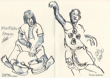 Mamadou Konate, drummer, and Souleymane Badolo, dancer. Illustration: Carolyn Newberger