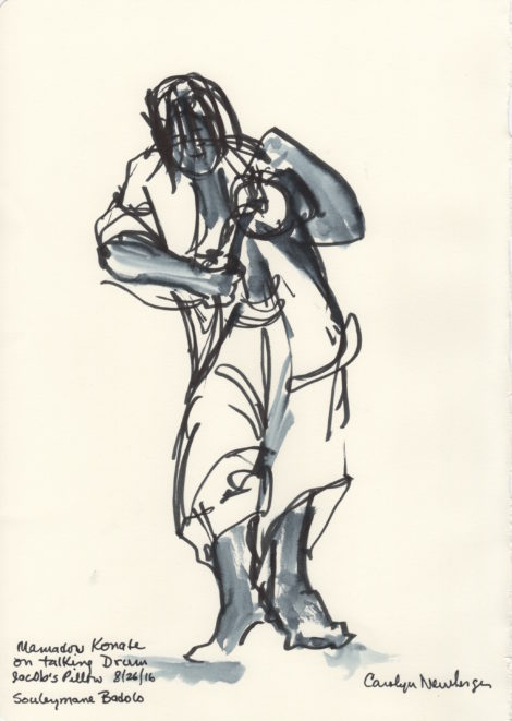 Mamadou Konate on the Talking Drum. Illustration: Carolyn Newberger